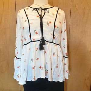 XL Lauren Conrad Boho peasant tunic top- off white
